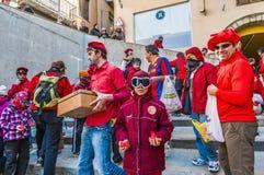 Flour War in Berga, Spain Royalty Free Stock Photography