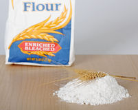 Flour and Wheat. Pile of flour with two wheat stalks with a bag of flour in background Stock Photography