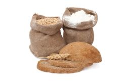 Flour and wheat grain with bread Royalty Free Stock Image
