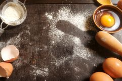 Flour in white background for make bake or pastry Royalty Free Stock Images