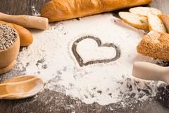 Flour and white bread Royalty Free Stock Photos