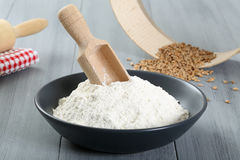 Flour on white table Royalty Free Stock Image