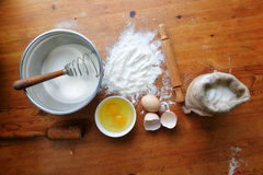 Flour on wooden background Stock Photography