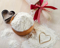 Flour on a wooden table. Royalty Free Stock Images