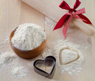 Flour on a wooden table Stock Photography