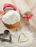 Flour on a wooden table Royalty Free Stock Photo