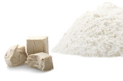 Flour and Yeast cubes Royalty Free Stock Image