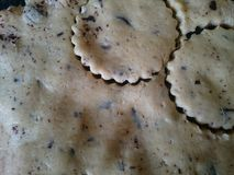 Floured covered surface ready for making cookies Royalty Free Stock Images