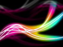 Flourescent Swirls Background Means Rainbow Lines In Darkness Royalty Free Stock Images