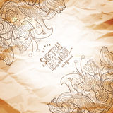 Flourish artistic background with frame. Angle decor. Crumpled vintage paper with linear nature hand-drawing elements. Retro styled drawing Royalty Free Stock Images
