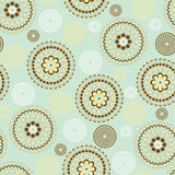 Flourish background pattern. Seamless dots circle in blue and brown Vector Illustration
