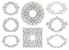 Flourish black and white frames template set. Swirling calligraphic ornament,doodle floral decor. Vintage line monogram borders. Hand drawing frames,wreath Stock Photography