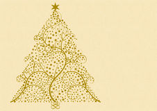 Flourish christmas tree. A christmas tree formed from golden flourish, stars and points on a light patterned beige background with a large copyspace on the right royalty free illustration