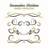 Flourish elements. Hand drawn dividers set. Ornamental decorative element. Vector ornate design. Stock Image
