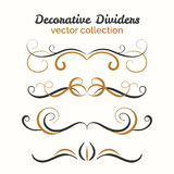 Flourish elements. Hand drawn dividers set. Ornamental decorative element. Vector ornate design. Royalty Free Stock Photos