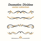 Flourish elements. Hand drawn dividers set. Ornamental decorative element. Vector ornate design. Text divider collection stock illustration