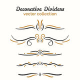 Flourish elements. Hand drawn dividers set. Ornamental decorative element. Vector ornate design. Text divider collection vector illustration