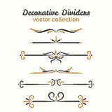 Flourish elements. Hand drawn dividers set. Ornamental decorative element. Vector ornate design. Royalty Free Stock Photos