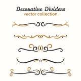 Flourish elements. Hand drawn dividers set. Ornamental decorative element. Vector ornate design. Royalty Free Stock Image