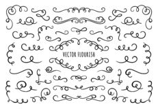 Free Flourish Frame, Corners And Dividers. Decorative Flourishes Corner, Calligraphic Divider And Ornate Scroll Swirls Vector Royalty Free Stock Images - 166407489