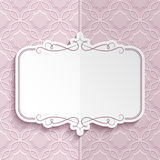 Flourish frame, folded card template. Flourish frame with swirly decorative border, vignette, sticker, folded greeting card or wedding invitation template vector illustration
