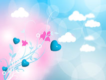 Flourish Hearts Valentine Background Stock Photo