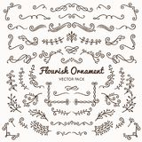 Flourish ornaments calligraphic design elements vector set illus. Tration stock illustration