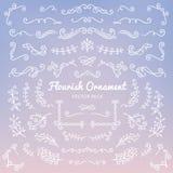 Flourish ornaments calligraphic design elements vector set illus. Tration vector illustration