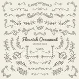 Flourish ornaments calligraphic design elements vector set illus Royalty Free Stock Photography