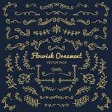 Flourish ornaments calligraphic design elements vector set illus. Tration royalty free illustration