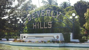 LOS ANGELES, USA - JUNE 15, 2015 Beverly Hills Sign, Trees, Street Sign, Los Angeles, California stock video