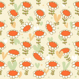 Flourish seamless drawn pattern  Camomiles delicate texture  Daisy  Bright background with spring flowers Stock Photos