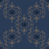 Flourish seamless pattern in dark colors. Stock Images
