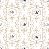 Flourish seamless pattern. Modern retro monogram vector illustration. Royalty Free Stock Images