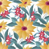 Flourish tiled pattern. Abstract floral background. Flowers Stock Photos