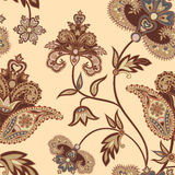 Flourish tiled pattern. Floral retro background. Curved tree bra. Nch with fantastic flowers, leaves. Wonderland motives of the paintings of ancient Indian Stock Photo