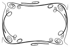 Flourish Vector Frame. Rectangle with squiggles, twirls and embellishments for image and text elements. Hand drawn black. Simple doodle, scribble border, sketch Stock Image