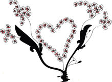 Flourish Vector with Heart Shape and Flower Vines Stock Photos