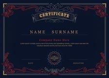 Flourishes élégants de cadre d'antiquité de certificat d'accomplissement illustration stock