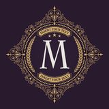 Flourishes calligraphic monogram emblem template. Elegant emblem logo for restaurants, hotels, bars and boutiques. It can be used to design business cards royalty free illustration