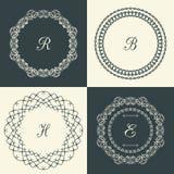 Flourishes calligraphic monogram emblem template. Luxury elegant frame ornament line logo design vector illustration. Good for Royal sign, Restaurant, Boutique Stock Illustration