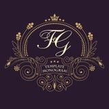 Flourishes calligraphic wedding monogram emblem template. Luxury elegant frame ornament line logo design vector illustration. stock illustration