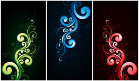Flourishes de rouge, verts et de bleu Photos stock