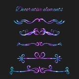 Flourishes del vector Divisores fijados Remolinos decorativos dibujados mano Foto de archivo libre de regalías