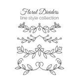 Flourishes. Hand drawn dividers set. Line style decoration. Stock Photos