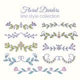 Flourishes. Hand drawn dividers set. Line style decoration. royalty free illustration