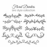 Flourishes. Hand drawn dividers set. Line style decoration. Royalty Free Stock Image