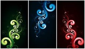 Flourishes verdi e dell'azzurro di colore rosso, Fotografie Stock