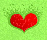 Flourishing heart. Valentine card with heart and greenery over it Royalty Free Stock Images
