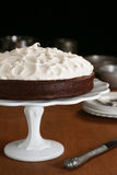 Flourless Chocolate Cake with Whipped Meringue Topping Stock Photos